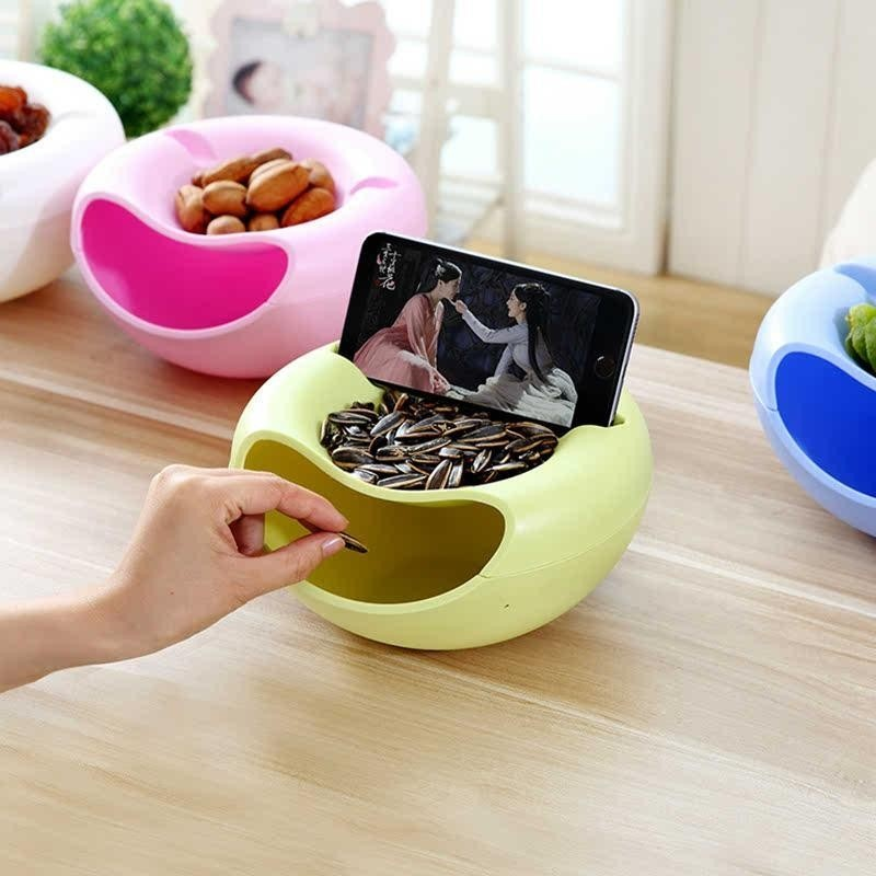 Creative Plastic Double Layered Dry Fruit Candy Snack Stroage Box Plate Dish