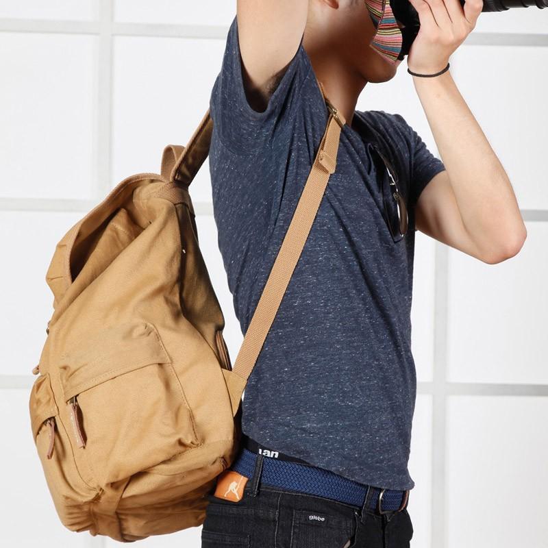 1841cb800f Caden F5 Vintage Canvas Camera Bag DSLR SLR Backpack Travel Rucksack for  Canon Nikon Khaki
