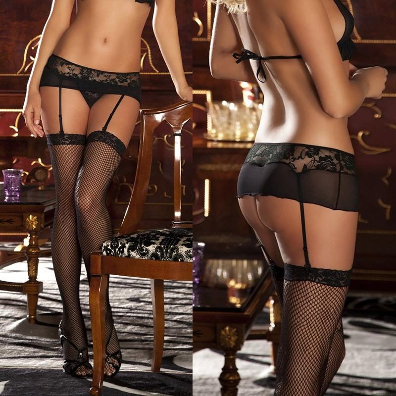 3a0c41cb50 Moda mujer ropa interior encaje malla liguero con tanga Portaligas Sexy  tanga ropa interior negro un tamaño negro - Tomtop.com
