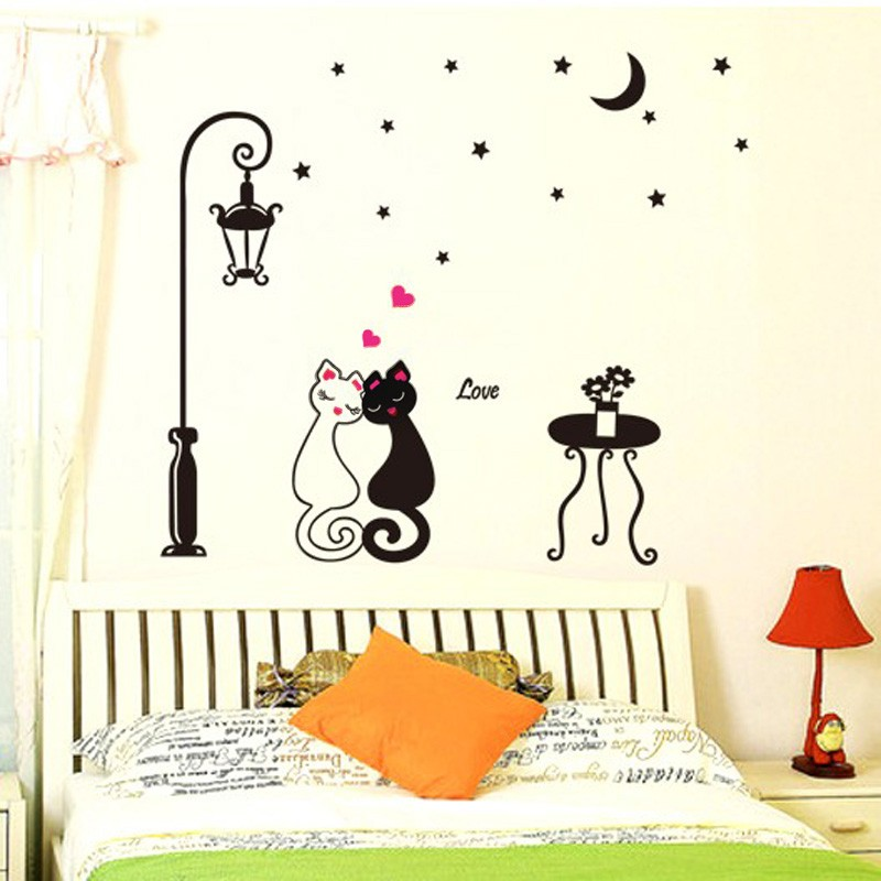 Cute Couples Cats Cartoon Wall Sticker Kids Childrens Room Decor - Wall decals kids room