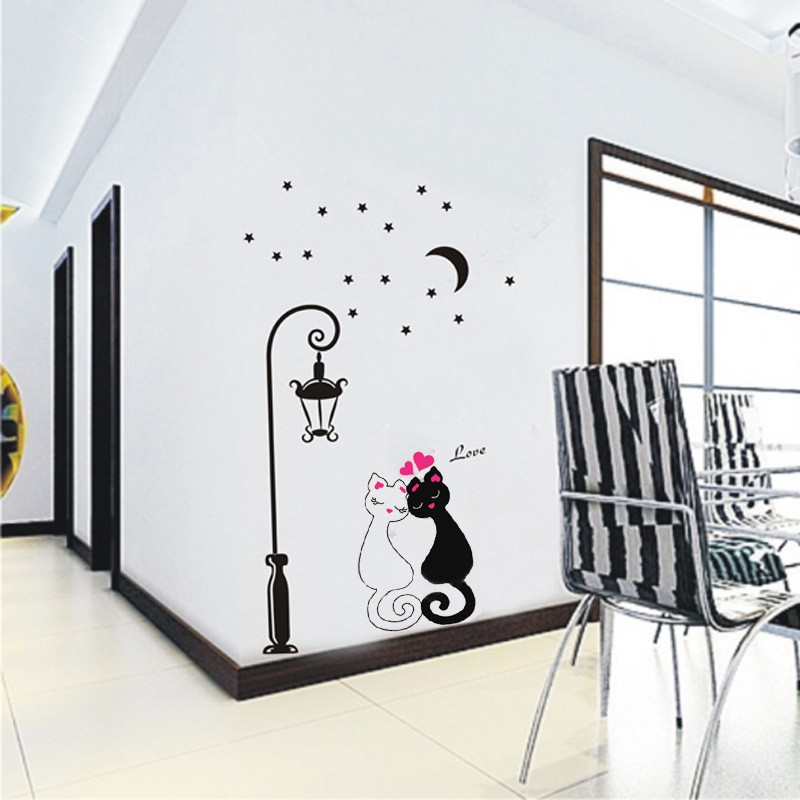 Cute Couples Cats Cartoon Wall Sticker Kids Childrenu0027s Room Decor Sales  Online   Tomtop