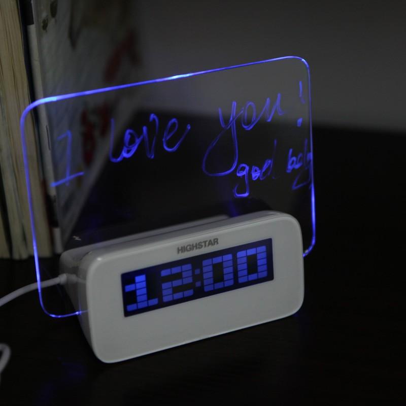 La lumi re bleue led digital fluorescent message board horloge alarme temp rature calendrier - Horloge orium led bleue ...