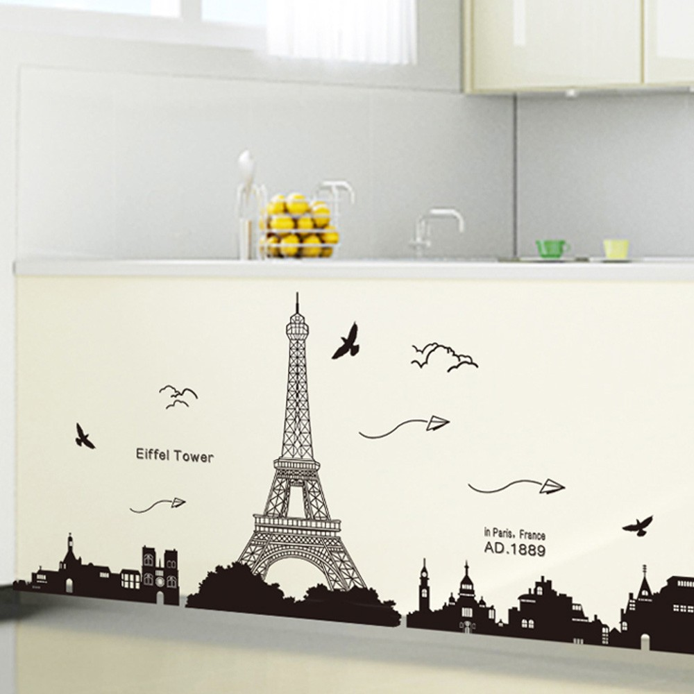 Paris Eiffel Tower Night View Beautiful Romantic Simple Black DIY Wall  Stickers Wallpaper Art Decor Mural Room Decal Sales Online   Tomtop