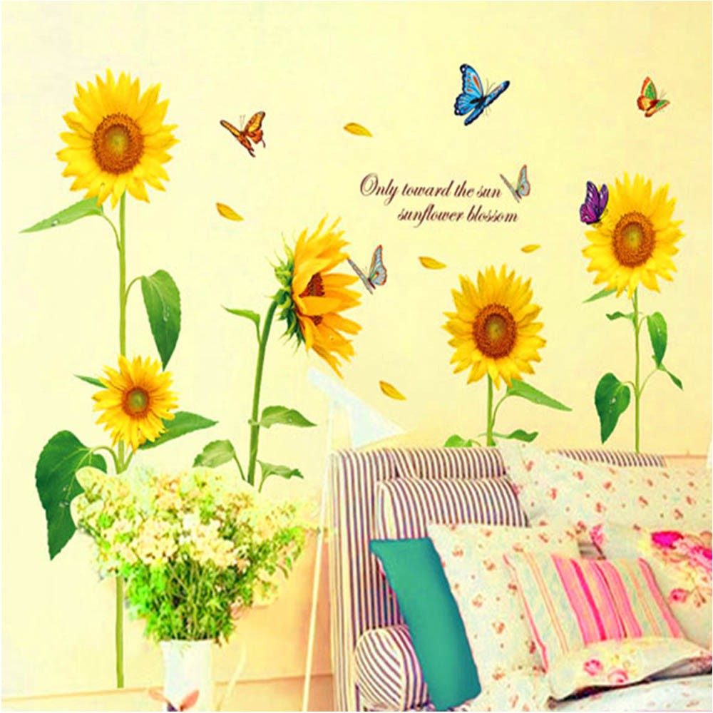 Sunshine Sunflower Butterfly Dancing in Summer Beautiful Removable ...