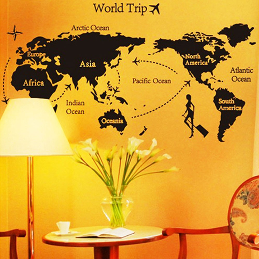 World Map Trip Black Simple DIY Wall Wallpaper Stickers Art Decor ...