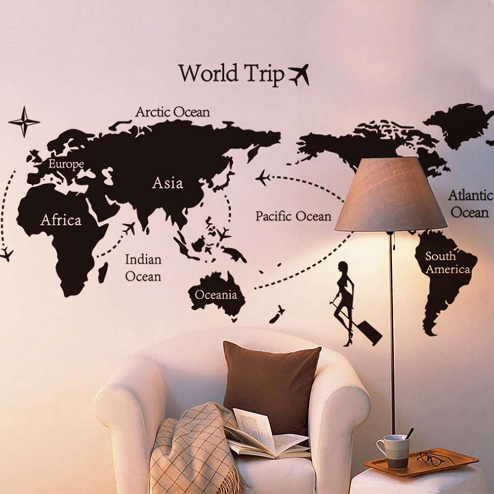 World map trip black simple diy wall wallpaper stickers art decor world map trip black simple diy wall wallpaper stickers art decor mural room decal gumiabroncs Images