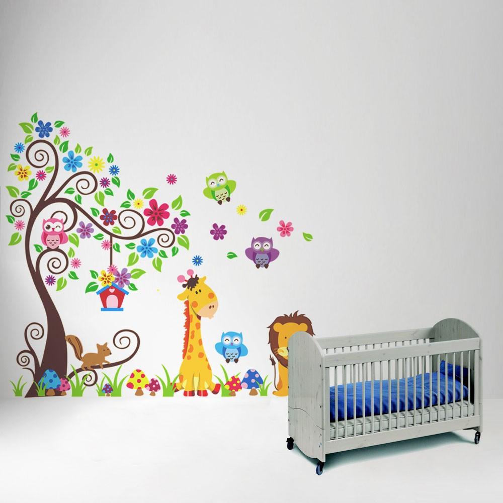 Dibujos animados lindo le n lechuza jirafa diy wall for Pegatinas habitacion nino
