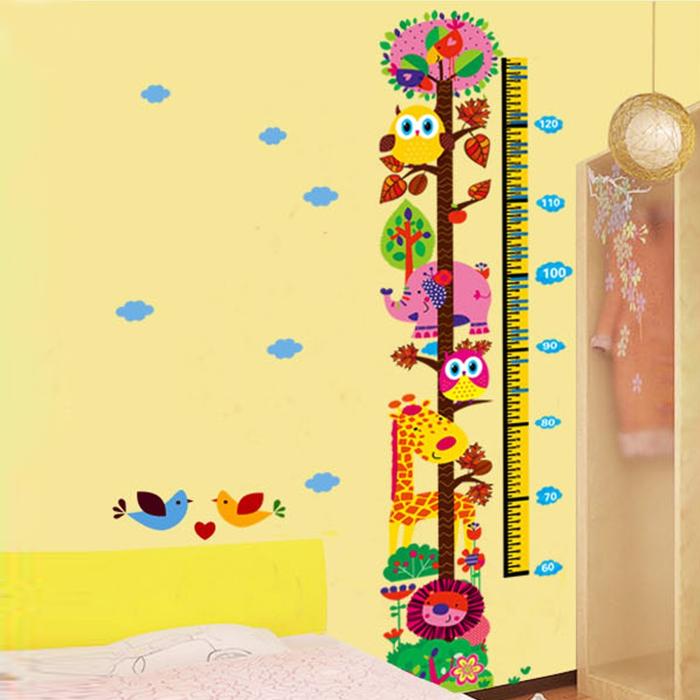 Cartoon Cute Animals Height Scale Meaturement DIY Wall Wallpaper ...