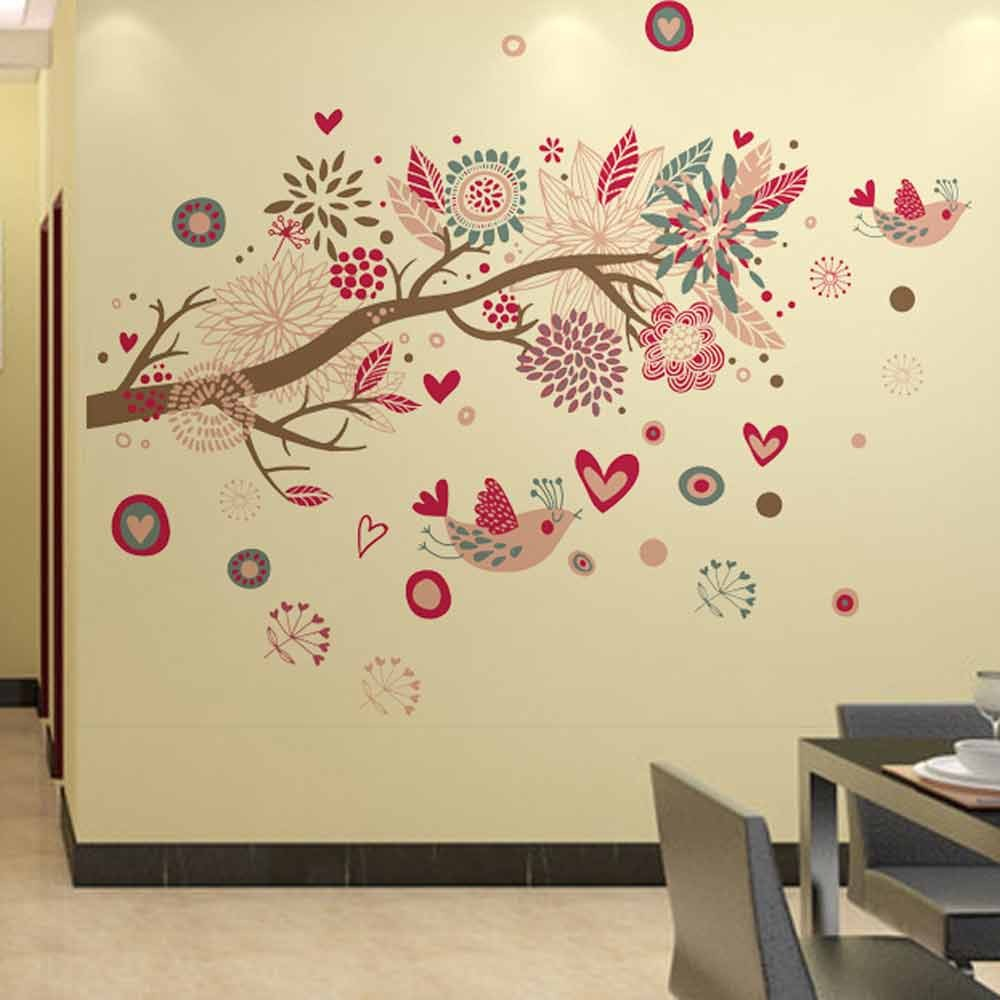 Bohemia Flowers Bird Removable Wall Stickers Art Decals Mural DIY ...