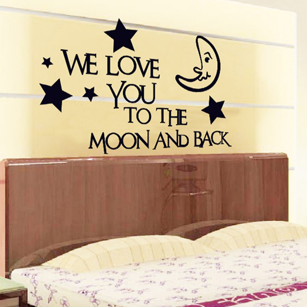 Stars Moon Letter Removable Wall Stickers Art Decals Mural DIY ...