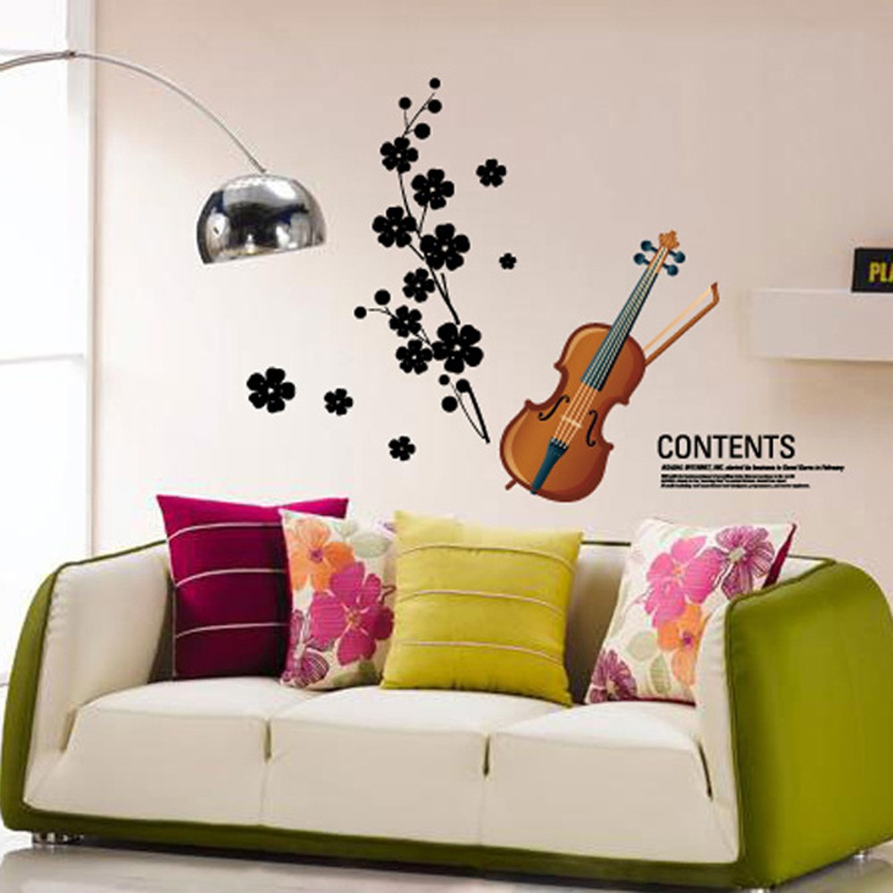 Beautiful violin flowers removable wall stickers art decals sales beautiful violin flowers removable wall stickers art decals sales online tomtop amipublicfo Image collections