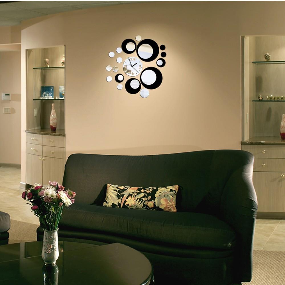 3D Crystal Mirror Effect Wall Clock Set 15 Circular Composite DIY ...