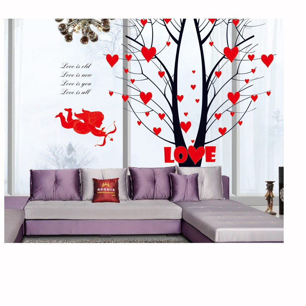 mice in house cupid arrow tree wall stickers decals mural diy 12770