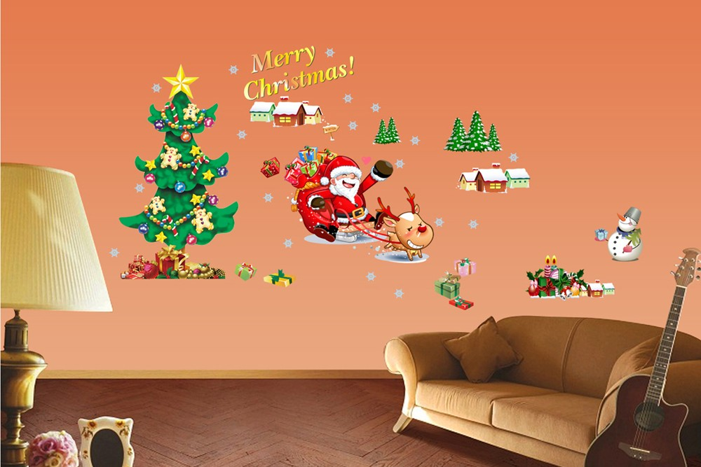Christmas Tree The Santa Claus Removable Wall Stickers Art ...