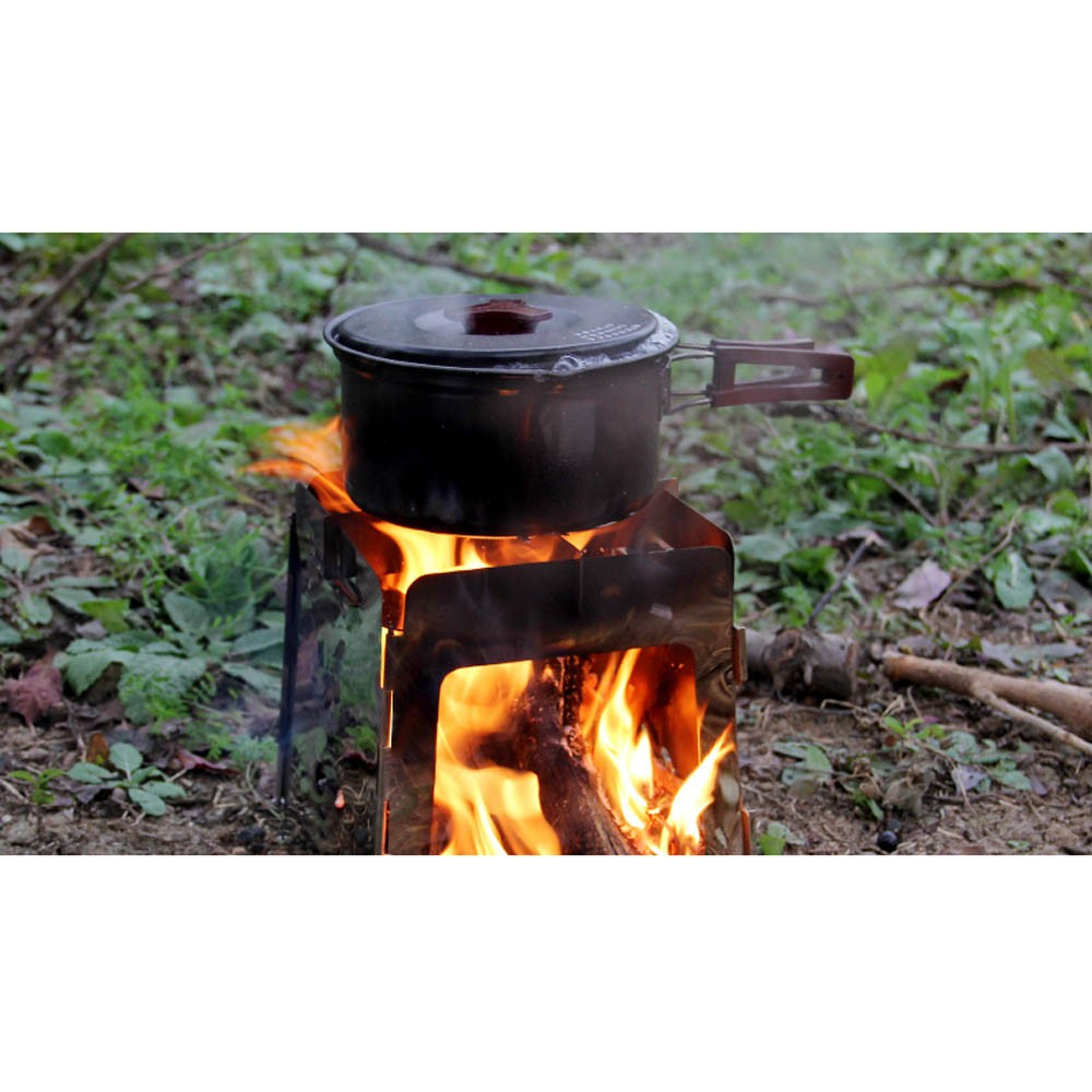 Portable stainless steel lightweight folding wood stove for Outdoor wood cooking stove