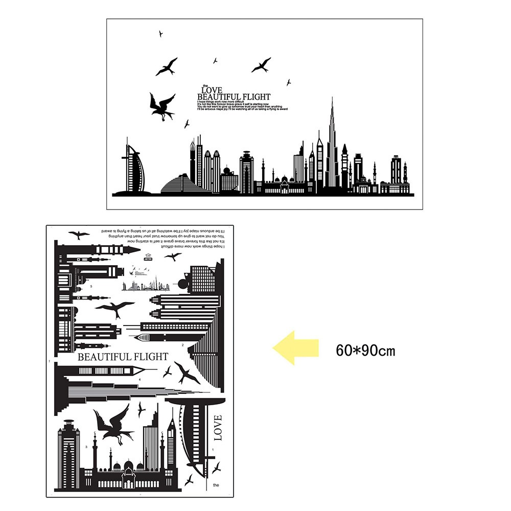 removable wall sticker city silhouette buildings art