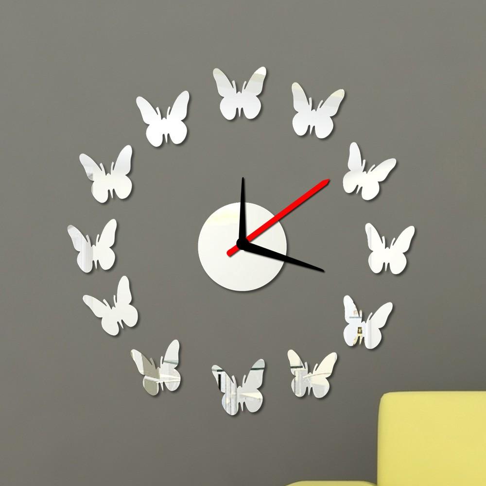 Creativo 12 farfalle wall clock adesivi set rimovibile - Unghie effetto specchio fai da te ...