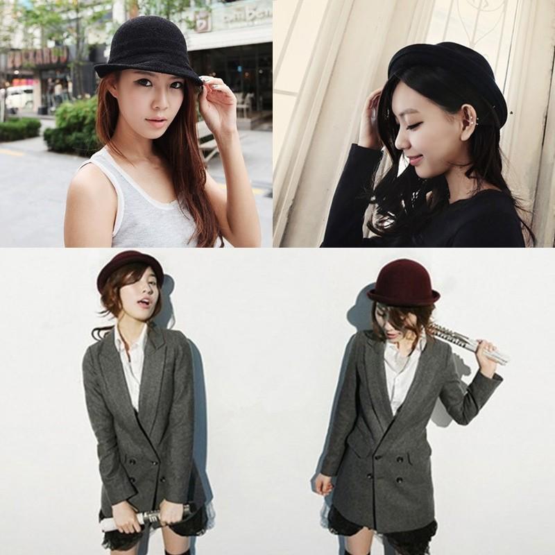 fc1a8fc2a48 Fashion Vintage Men Women Fedora Dome Hat Roll Brim Bowler Derby Hat Cloche  Unisex Headwear Black black Online Shopping