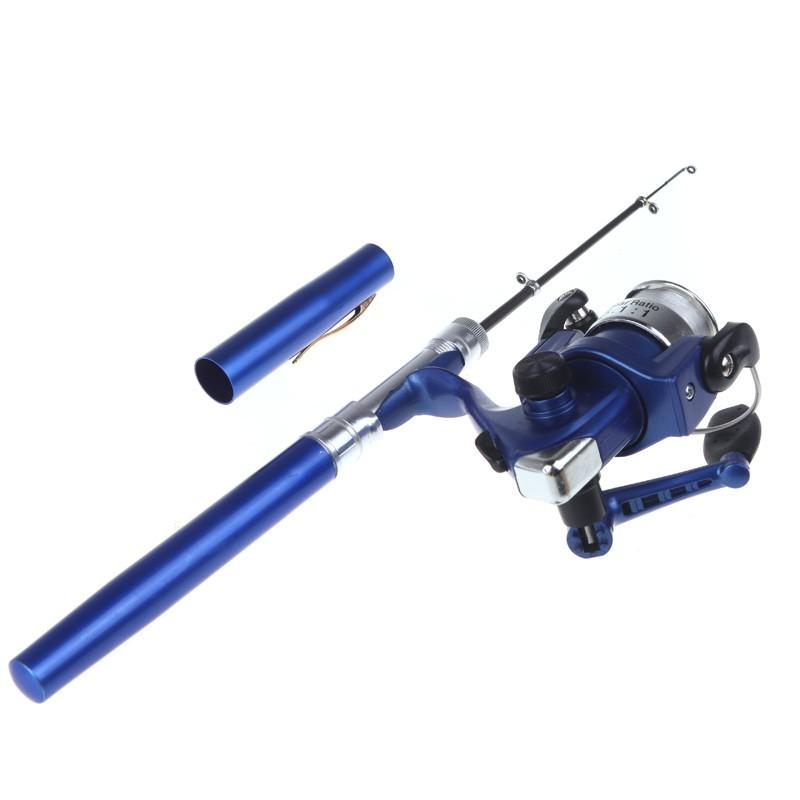 Mini aluminum pocket pen fishing rod pole reel blue us for Blue fishing rod