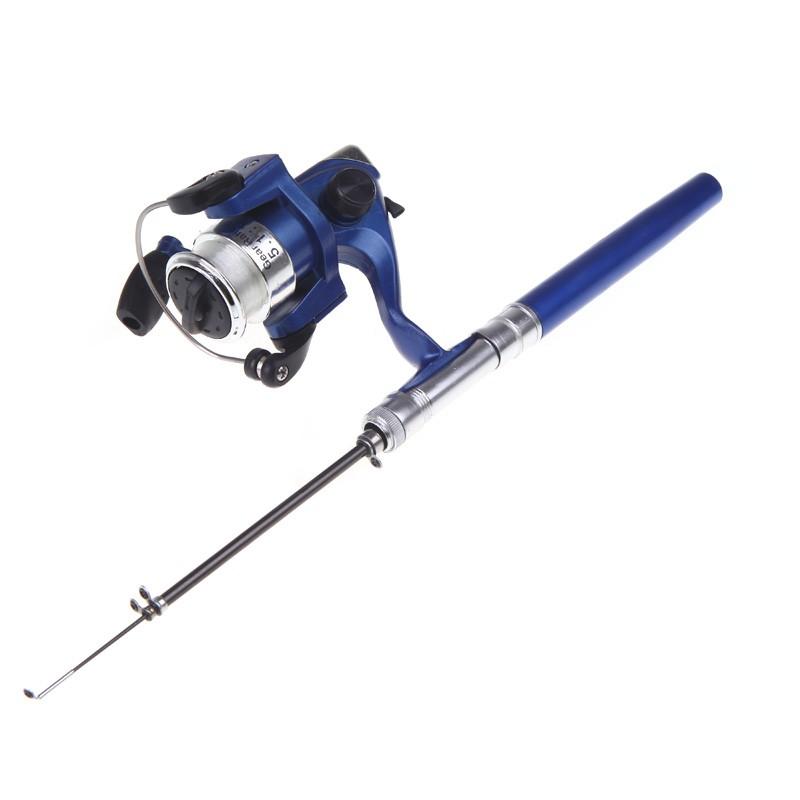 Mini aluminum pocket pen fishing rod pole reel us for Pocket fishing rod