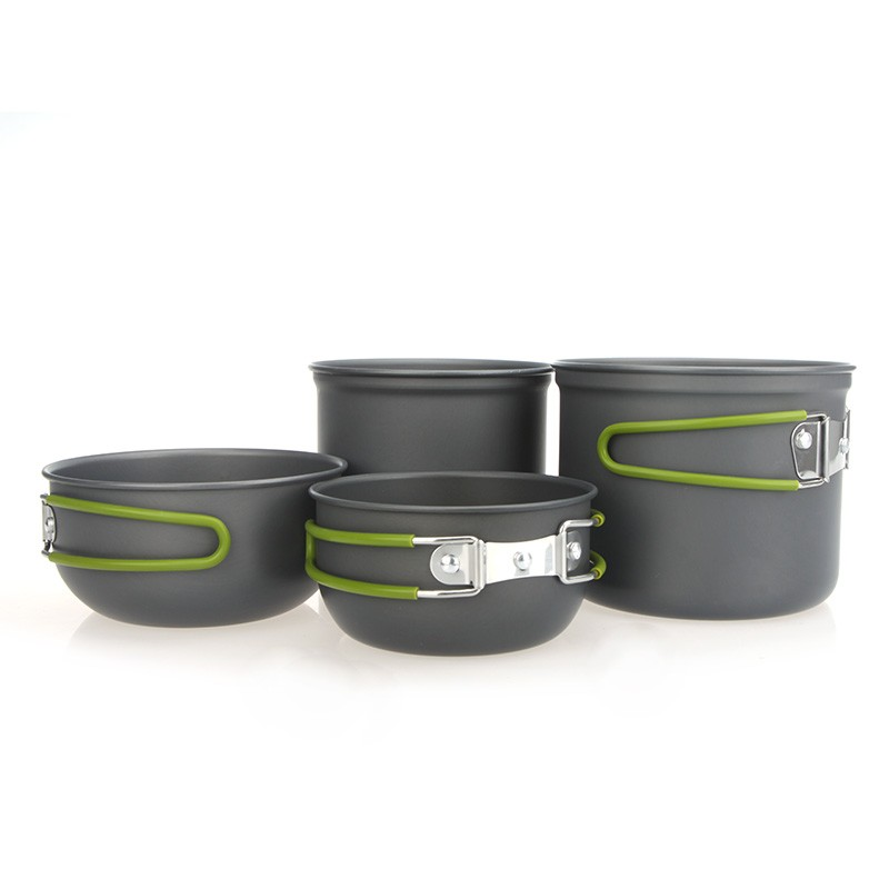 Un set d 39 ustensiles de cuisine portable aluminium anodis for Pot a ustensile de cuisine