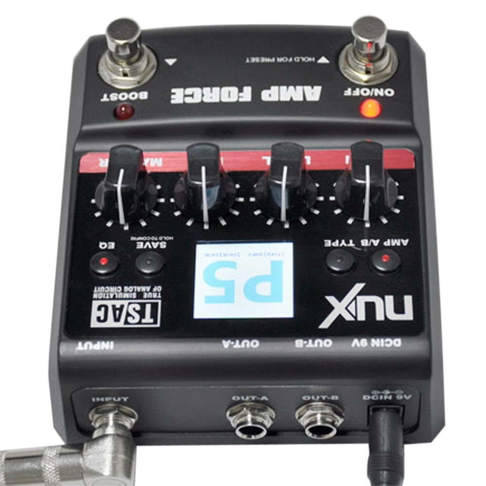nux guitar amp force modeling amplifier simulator electric effector pedal 12 models 3 band eq. Black Bedroom Furniture Sets. Home Design Ideas