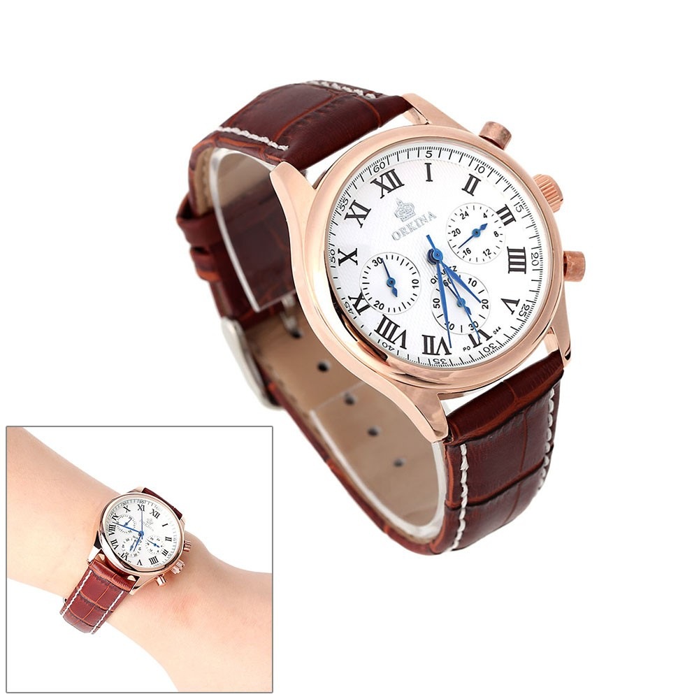 Mg Orkina Unisex Luxury Chronograph Wristwatch Water Resistant Leisure Style Analog Quartz Watch