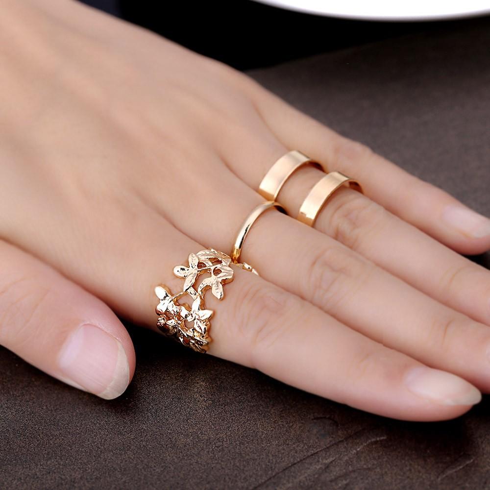 3pcs Fashion Womens Metal Leaf Above Knuckle Finger Ring Set gold