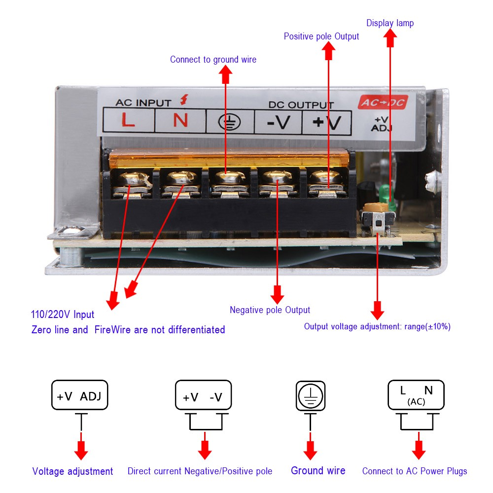 Ac 110v 220v To Dc 12v 5a 60w Voltage Transformer Switch Power How Decipher The Wiring Schematic Of A 110220v Supply For Led Strip Sales Online Tomtop
