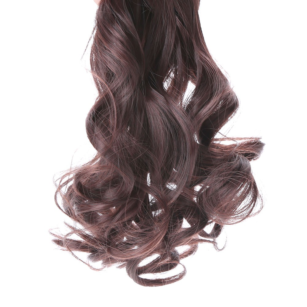 24 60cm Long Curly Hair Extension Women Waving Hairs 5 Clips In