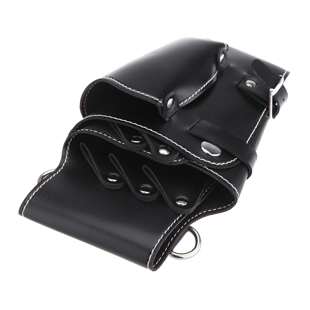 Black Waist Pack For Hairdressing Tool Soft Leather