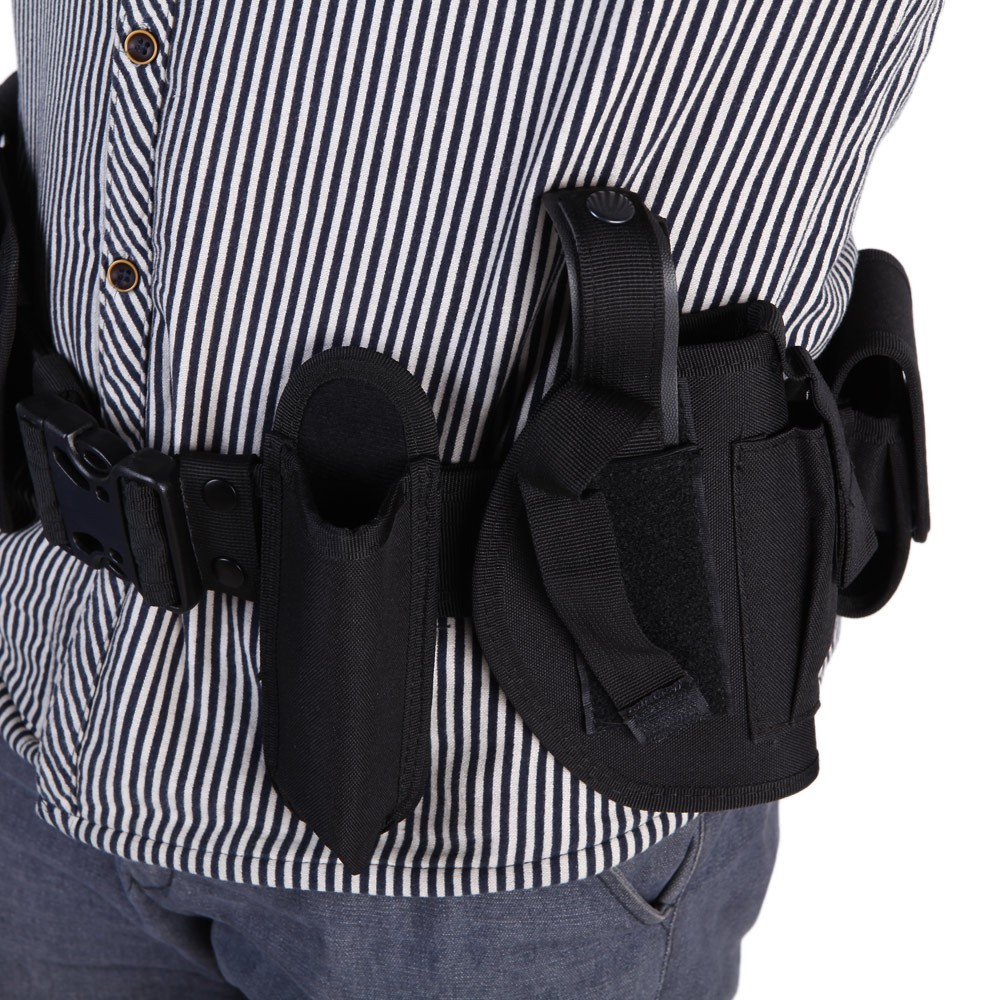 Tactical Police Security Guard Equipment Duty Utility Kit Belt with Pouches  System Holster Outdoor Training Black