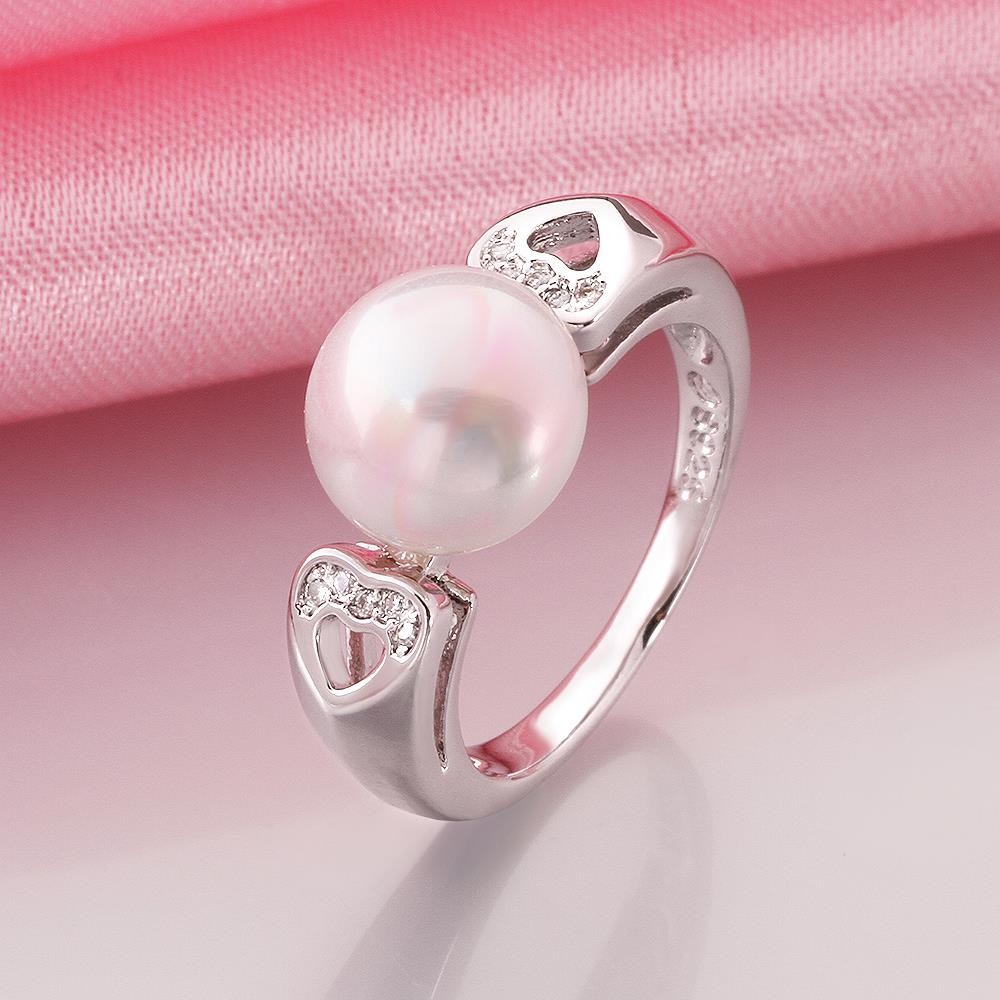 R019-8 wholesale latest pearl ring designs for women 8 silver plated ...