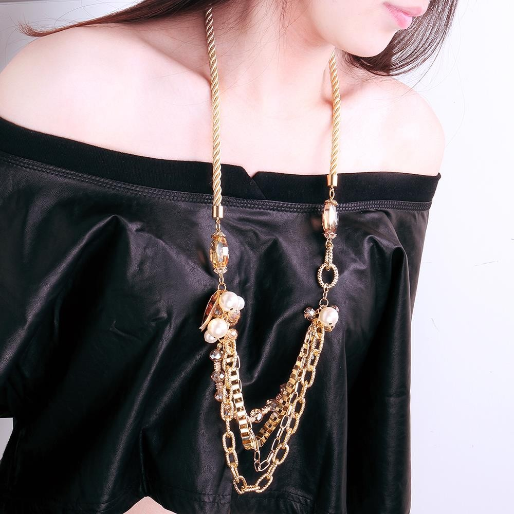 863c96ed66db MCM005Fashion collar largo elegante cristal resina mujer trenzado collar  naranja chapado en oro de 18 quilates - Tomtop.com