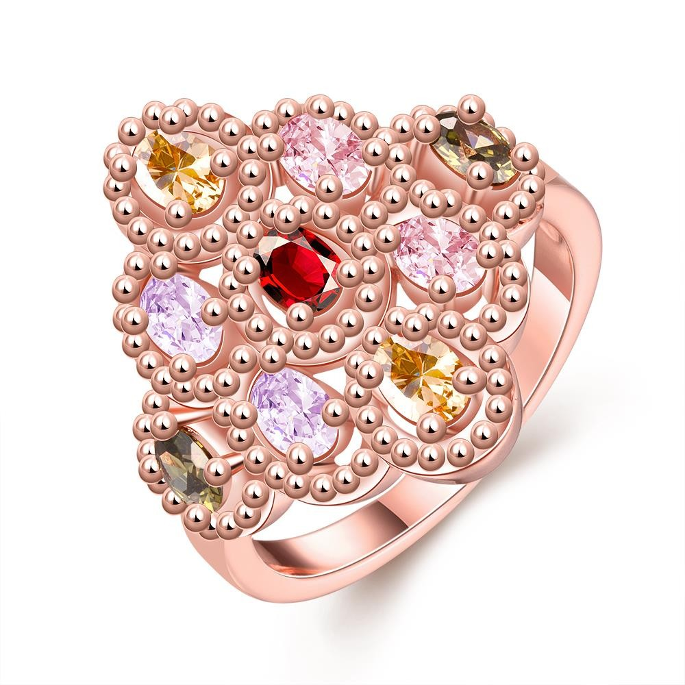 Candy Color Rhombic CZ Diamond Brass Ring Rose Gold-Electroplated ...