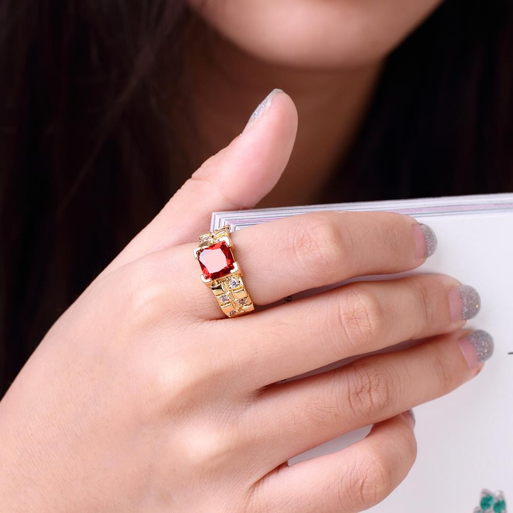 Red CZ Diamond Brass Ring Gold-Electroplated Summer Style Fine Women ...