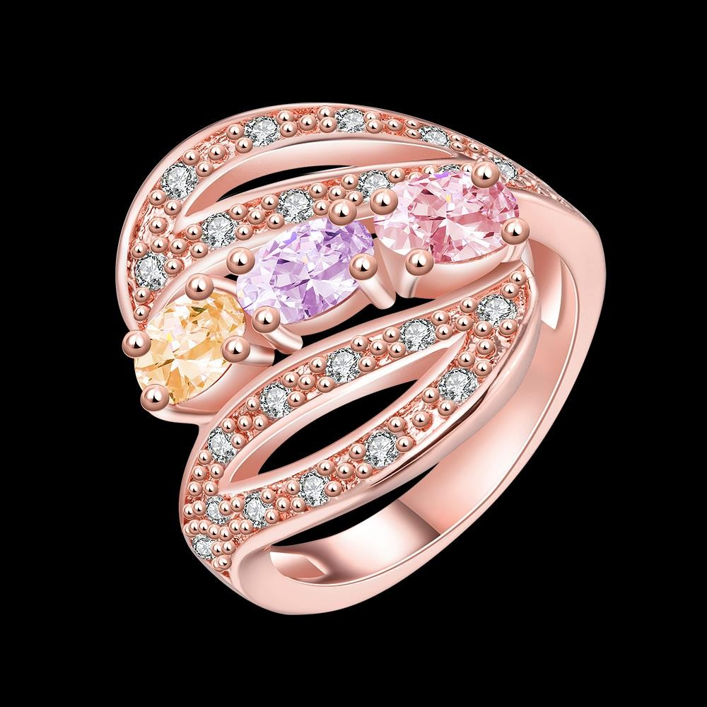 Candy Color Heart-shaped CZ Diamond Brass Ring Rose Gold ...