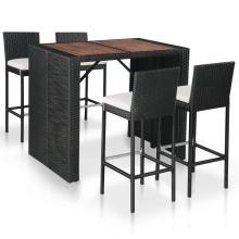 Nur 449.00€, Salon de jardin bar résine tressée et bois d'acacia  marron-noir - Interouge