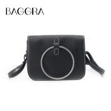 3f11aa50e3aa9 New Vintage Women Crossbody Bag Messenger Bag Metal Ring Shoulder Bag PU  Leather Girls Small Bag