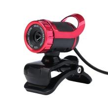 USB Desktop Webcam with Built-in Sound-absorbing Microphone (Red)