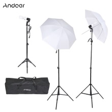 Andoer Photography/Video Portrait Umbrella Continuous Triple Lighting Kit with Three Bulbs Three E27 Swivel Socket Three Stand Two Umbrellas Carrying Case
