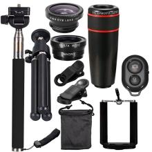 10PCS 12X Telephoto Universal Mobile Phone Lens Kits