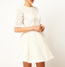 Elegant Women Lady Dress Floral Lace One-piece Party Prom Slim Skater Dress White