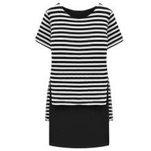 New Casual Women Dress Stripe Overlay O-Neck Short Sleeves Fashion One-piece Black