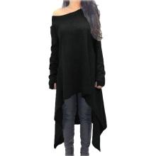 Women Dress Solid Color One Shoulder High Low Asymmetric Hem Long Sleeve Loose One-Piece