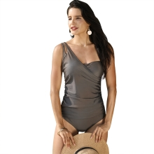 Women One Piece Swimsuit One Shoulder Ruched Front Swimwear Playsuit Jumpsuit Rompers