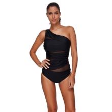Sexy One Piece Swimsuit Women Summer Beachwear Mesh One Shoulder Swimwear Bodycon Bodysuit Bathing Suit Black