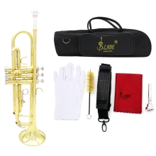 Trumpet Bb B Flat Brass Exquisite with Mouthpiece Gloves