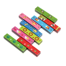 Tremolo Harmonica 16 Holes Wooden Cover Colorful Free Reed Wind Instrument Kids Musical Educational Toy
