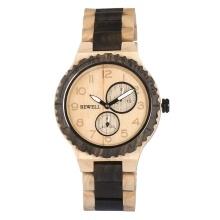 BEWELL ZS-W154A Men Wood Watch Quartz Movement Stopwatch Date Luminous Vintage Analog Wrist Watch